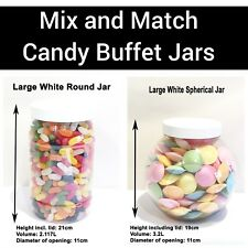 Large White Food Grade Plastic Jars Candy Sweet Buffet YOU CHOOSE QUANTITY/STYLE