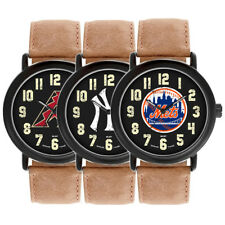 Game Time MLB Baseball Team Throwback Dark Brown Leather Mens Watch MTO