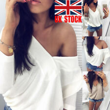 UK Women Deep V Loose Top Batwing Long Sleeve Casual Blouse Pullover Party Shirt