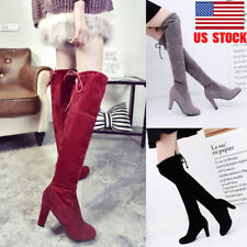 US Women Slim Boots Over Knee High Heel Winter Slip On Lace Up Casual Shoes Size