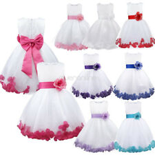 Kids Girl Formal Dress Wedding Princess Flower Petals Party Bridesmaid Prom Gown