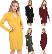Womens Ladies Ribbed Knitted Choker Neck Cold Shoulder Bodycon Dress UK 8-14