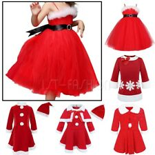 Girls Christmas Santa Dress Outfit Kids Miss Claus Costume Fancy Dress Party Set