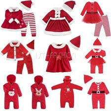 Baby Girls Boys Christmas Santa Claus Dress Up Costume Romper Pants Party Outfit