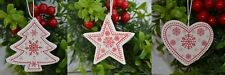 12 White Christmas tree decorations Stars Hearts or trees (15)