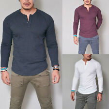 Stylish Men's Slim Fit V Neck Long Sleeve Muscle Tee T-shirt Casual Tops Blouse
