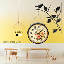 Antique Double Sided Hanging Clock Garden Hallway Outdoor Station Wall Mounted