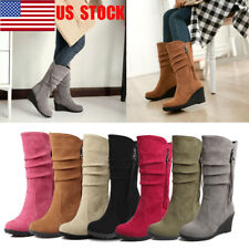 US Women Zipper Mid Heel Mid -Calf Boots Wedge Heel Platform Winter Shoes Size