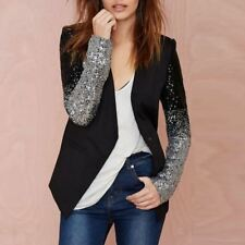 Black Silver Glitter Sequin Sleeves Slim Fit Blazer Suit Jacket