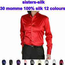 Mens 30 Momme Heavy Weight 100% Pure Silk Business Dress Shirts Long Sleeve