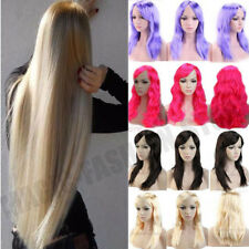Cheap Long Cosplay Wigs Sexy Ladies Wavy Full Wig Party Dress Bright Blonde USah