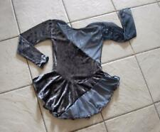 NW Girls GRAY Glittery OMBRE Chiffon VELVET Competition FIGURE ICE SKATING Dress