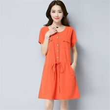 Women One-piece Short Sleeve O-neck Cotton Fabric Office Party Dress