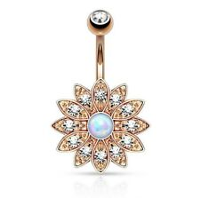 New Crystal Rhinestone Belly Button Ring Petal Gem Belly Button Ring Jewelry