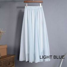 Women Light Blue Chiffon Fabric High Waist Elastic Waist Long Skirt