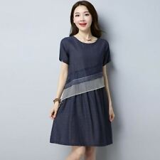 Women New Fashion Cotton Fabric Vintage Stripe Casual Summer Dress CH1113