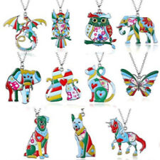 Fashion Colorful Paint Animal Dog Cat Dragon Pendant Necklace Women Jewelry Gift