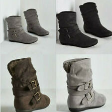 Women Flat Slip On Casual Ankle Boots Ladies Suede Buckle Warm Winter Shoes Size