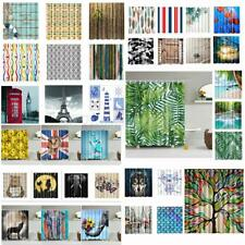 Fabric Waterproof Square Bathroom Shower Curtain Divider Panel with 12 Hooks
