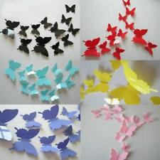 One Set Romantic 3D Butterfly Cute Home Room Wall Stickers Decors Yellow Pink