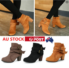 AU Winter Ladies Mid Heels High Top Ankle Boots Platform Short Pumps Shoes Size