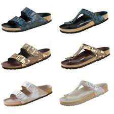Birkenstock Gizeh Hex Arizona Leather Sandals Spotted Metallic Slides Thongs NEW