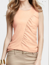 NWT NEW Ann Taylor Peach shirred sleeveless shirt Top Sz MP, XL