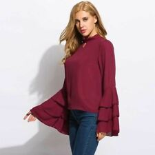 Summer Flare Sleeve Stand Collar Ruffles Chiffon Hollow Out Loose Blouse