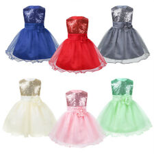Flower Infant Baby Girl Sequins Mesh Tutu Dress Baptism Princess Pageant Wedding