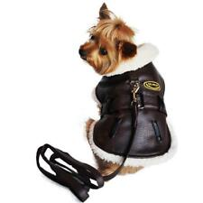 Brown and Black Faux Leather Bomber Dog Coat Harness and Leash by Doggie Design