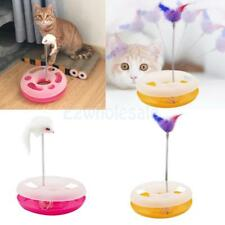 Pet Cat Crazy Chasing Toy Scratching Toy Scratcher Board W/ Fleece Spring Mouse