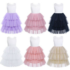 Flower Girls Lace Mesh Tiered Flower Princess Dress Kids Pageant Wedding Party
