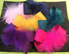 You Pick 5 - Lot Set Boutique Hair Bows Marabou Puff Feather Hairbows U Choose