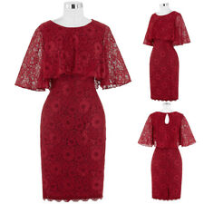 Dark RedMother of the Bride Lace Dress Formal Evening Cocktail Party Gown Dress