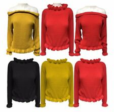 Womens Ladies Ruffle Frill Edge Chunky Knit Trendy Cropped Jumper Knitted Top