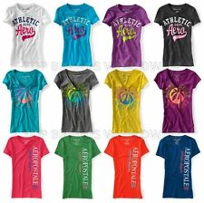 AEROPOSTALE WOMENS T-SHIRT LOGO AERO GLITTER V-NECK CREW ATHLETIC TOP TEE NWT