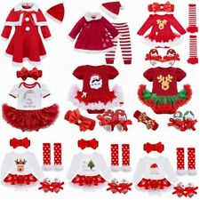 My First Christmas Infant Baby Girl Santa Romper Headband Tutu Dress Outfit Set
