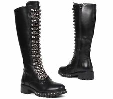 WOMENS FAUX LEATHER CHAIN STUDS GOTH ZIP RIDING BOOTS KNEE HIGH LADIES SIZES