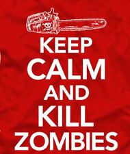 Keep Calm and Kill Zombies T-Shirt / Funny,Men's Tee,Red,Skull,Chainsaw Tee