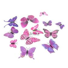 12 Pieces 3D Butterfly-shaped Plastic 3D Wall Stickers Art Mural Decals 5 Colors