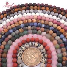"""6mm Round Frost Matte Jade Stone Spacer Loose Beads Strand 15"""" Muti-Stone Pink"""