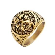 Stainless Steel Lion Ring Vintage Gold Lion Ring Punk Gothic Rock Size 7 -13