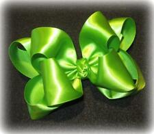 Lime Satin Double Layered Fancy Hair Bows Girls Glamor Party Hairbows Pageant
