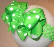 Lime Green Dot Double Layered Hair Bows Baby Toddler Boutique Custom Hairbows