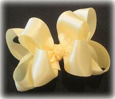 Ivory Satin Double Layered Fancy Hair Bows Girls Glamor Party Hairbows Pageant