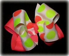 Girls Hairbows, Baby Hair Bows, Glitter Bows, Boutique Bows, Neon Jumbo Dots Bow