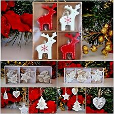 Hanging Christmas tree decorations different designs tree heart star red white