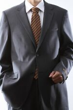MENS 2 BUTTON SUPER 140S WOOL GRAY SUIT FLAT FRONT, 40412N-40406-GRE