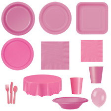 HOT PINK Party TABLEWARE - Plates/Cups/Cutlery/Napkins/Tablecovers/Bags/Balloons