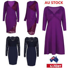 Plus size AU Lace V-Neck Pleated Dress Long Sleeve Evening Party Cocktail Dress
